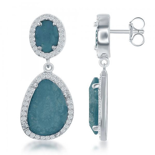 Sterling Silver Double Oval Blue Ice with Round Stone Border Earrings CSE-D-6345