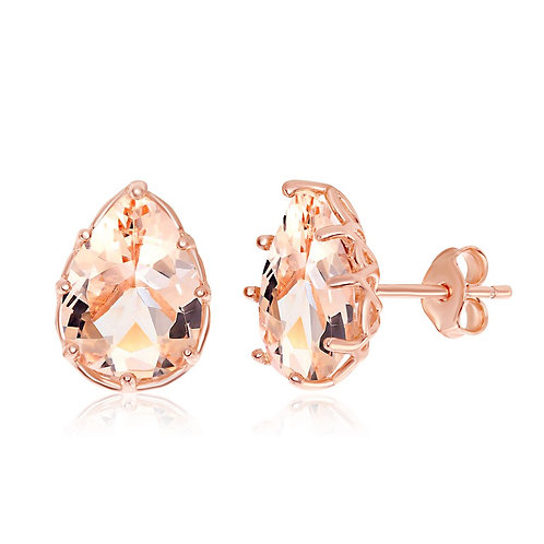 Sterling Silver Rose Gold Plated Pear-Shaped Morganite CL-D-6926