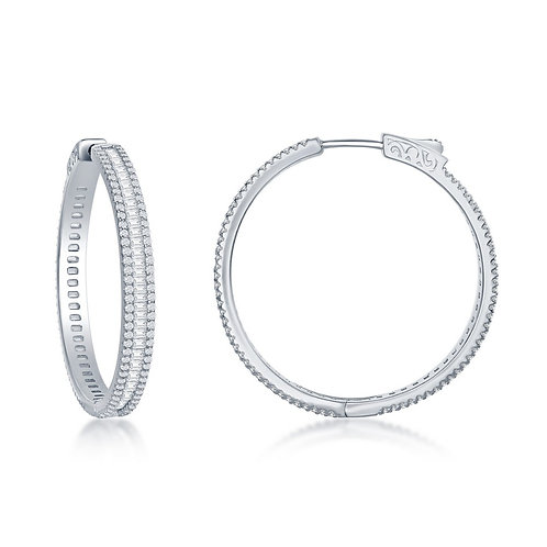 Sterling Silver Baguette 35mm Hoop Earrings TCSE-D-7239