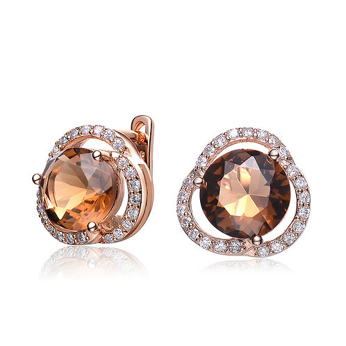 Sterling Silver Smokey Topaz Deco Earrings CSE-EAR8618-ST