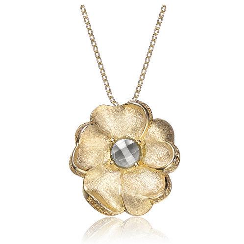 Sterling/Gold Toned Flower Pendant CSN-PEN1866