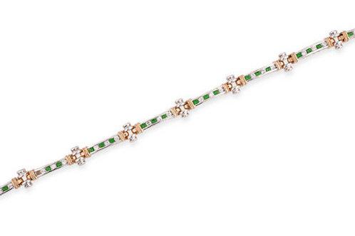 Sterling Silver Two Tone Emerald Round Bezel Set Bracelet CSB-BR1921-E