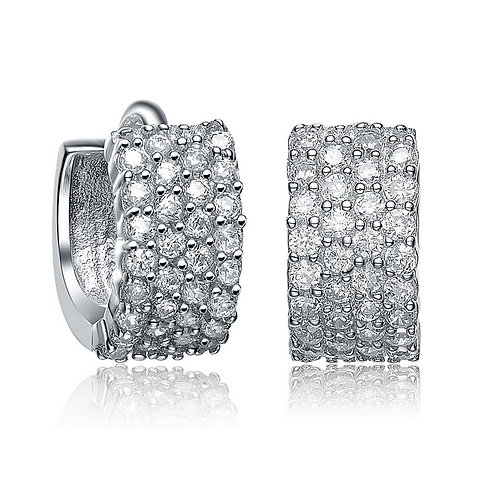 Sterling Silver Rhodium Plated Four Row Huggie Earrings CE-EAR2958