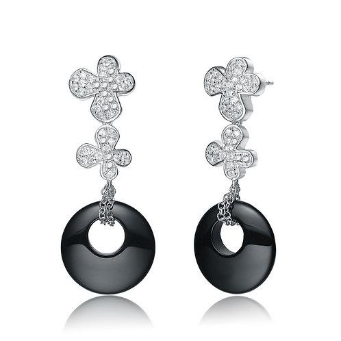 Sterling Silver Onyx Style Circle Drop Earrings CSE-EAR1909