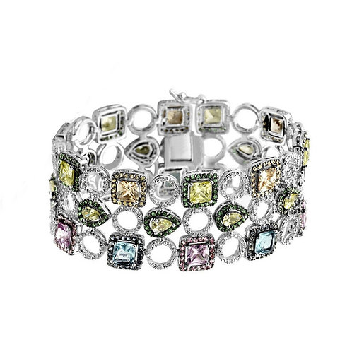 Sterling Silver Multi-colored Three Row Bracelet BR2119