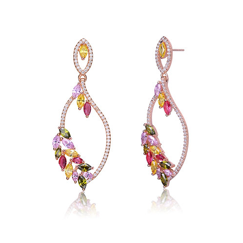 Rose Gold Toned Leaf Shaped Multi Color Earrings CSE-EAR9940-MC