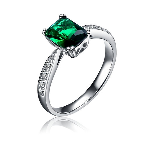 Emerald Colred Stone with Pave Sides R1107-E
