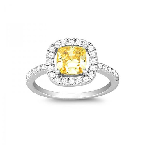 SQUARE CANARY AND CZ MICRO PAVE RING W-9905