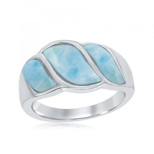 Sterling Silver Larimar Wave Design Ring CSR-W-2059