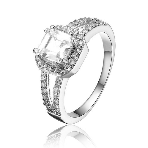 Sterling Silver Princess Cubic Zirconia Solitaire Ring : R2160