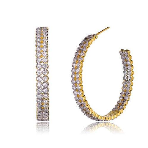 Double Row Milgrain Etching Bezel Hoop Earrings CSE-EAR5784-GP