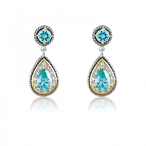 2 TONE CABLE STYLE AQUA CZ EARRINGS D-4495