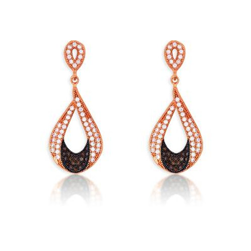 Sterling Silver Rose Teardrop with Black Rhodium Micro Pave Earrings CSE-D-5185