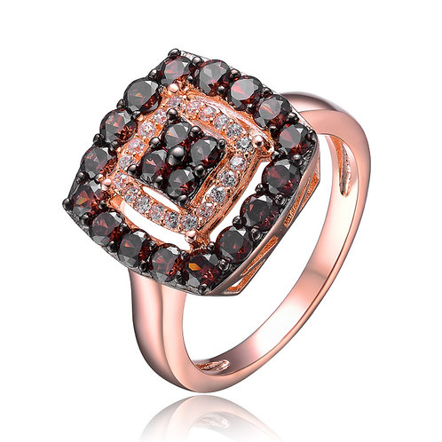 Sterling Silver Black Cubic Zirconia Square Ring R2406