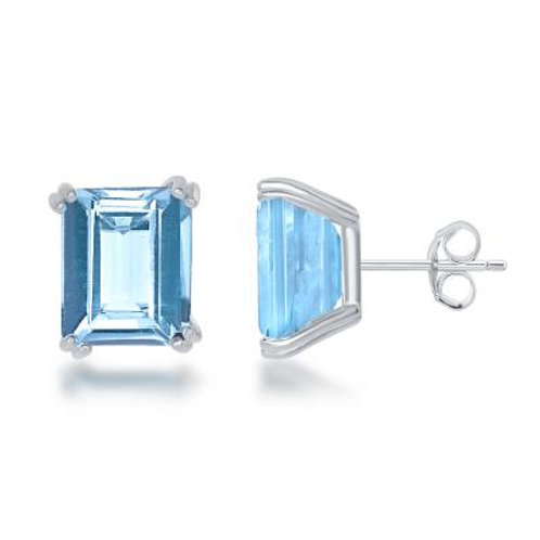 Sterling Emerald Cut Genuine Blue Topaz Stud Earrings TCE-D-5621