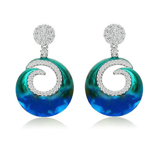 Sterling Silver with Rhodium Plated Blue-Green Enamel Earrings CSE-EAR6553-S