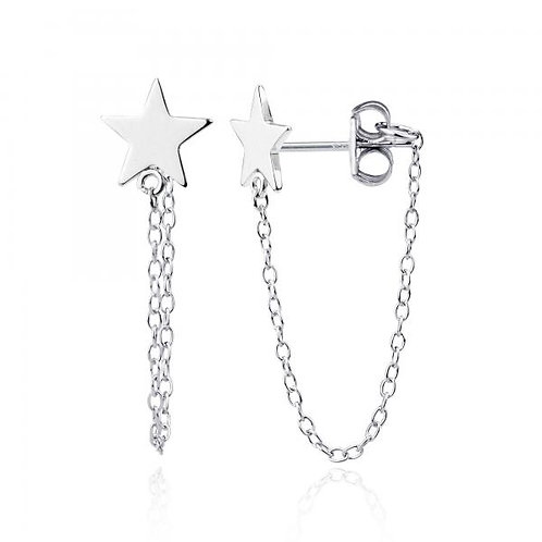 Sterling Silver Star Stud with Looping Chain Earrings CSE-A-2239