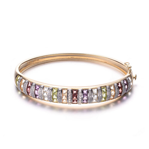 Multi Stone Gold Toned Bangle with Channel Set Princess cut Stones MK03