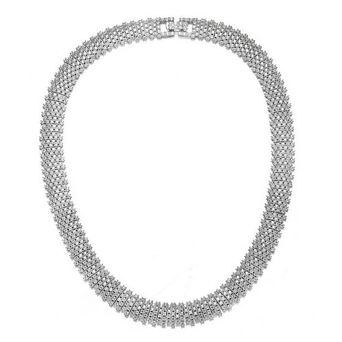 Sterling Silver with Rhodium Plated Pave Necklace TSN-NEC3251