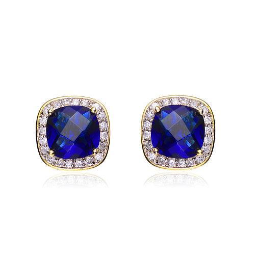 Sterling Silver Cushion Cut Sapphire Style Stud Earrings TCE-ear1046-saph-gp