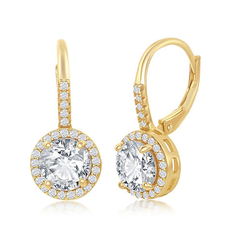 Sterling Silver Gold Plated Round Halo Earrings CL-D-7247-GP