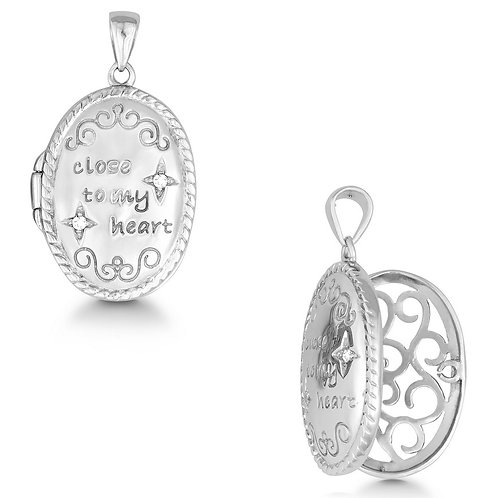 "Sterling Silver ""Close To My Heart"" Oval Locket Pendant CTN-K-6622"