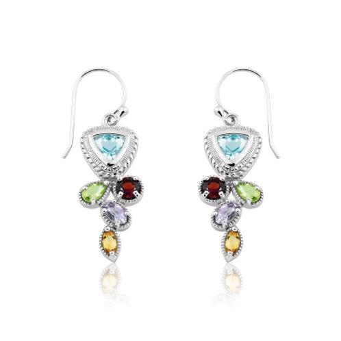 Sterling Silver Multi Shaped Multi Topaz Gemstone Ear. CSE-D-4437