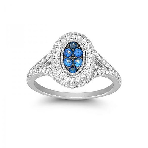 OVAL SAPHIRRE AND WHITE CZ MICRO PAVE RING W-9909