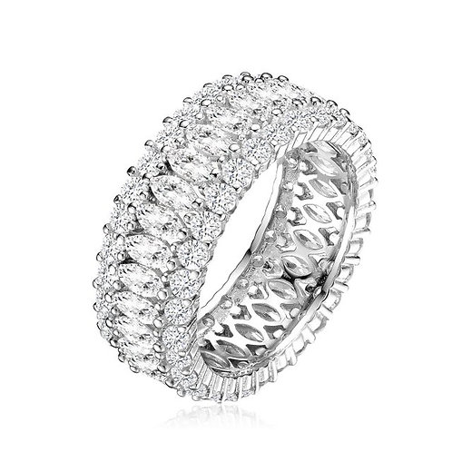 Sterling Silver Round and Marquise Eternity Ring TCR-R0645-7