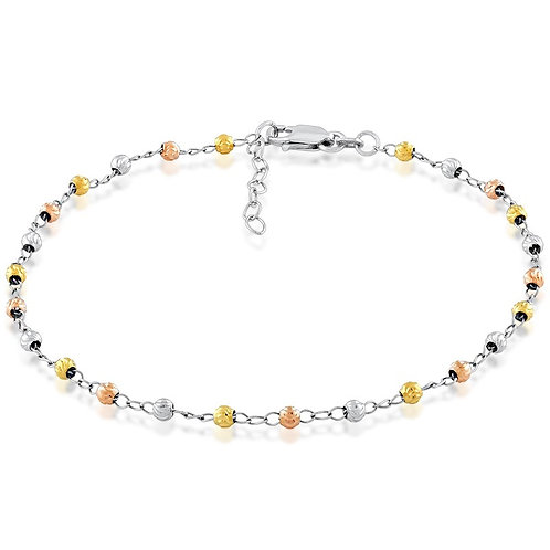 Sterling Silver Thin Diamond Cut Tri Color Anklet ANK-R-9103
