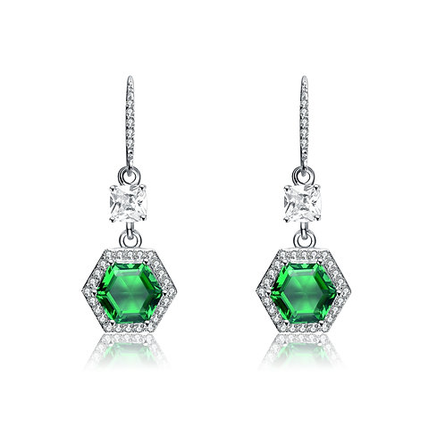 Sterling Silver Emerald Hexagon Stone Earrings TCE-EAR6089
