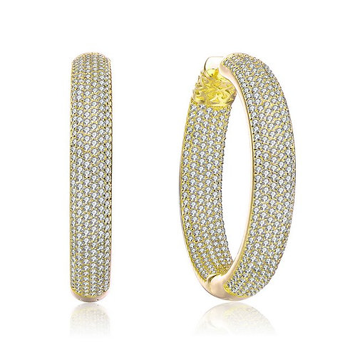 Gold Plated Clear Round Pave Hoop Earrings TCSE-BEAR6507-GP