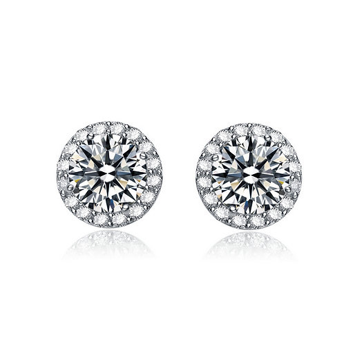Sterling Silver Round Halo Style Stud Earrings 2.5tc TCE-EAR1790