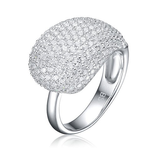 Sterling Silver with Rhodium Plated Pave` Cluster Ring TCSR-R0283