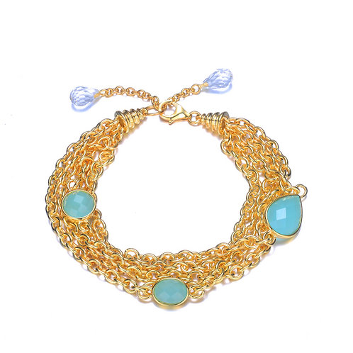 Multi Strand Gold Toned Bracelet with Cushion Cut Blue  Stones BR9919-GO