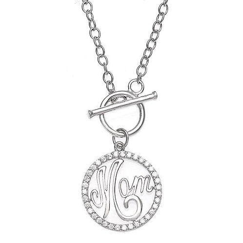 MOM Sterling Silver Toggle Necklace CSN-M-4675