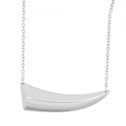 STERLING SILVER SIDEWAYS SHARK TOOTH NECKLACE  L-3779