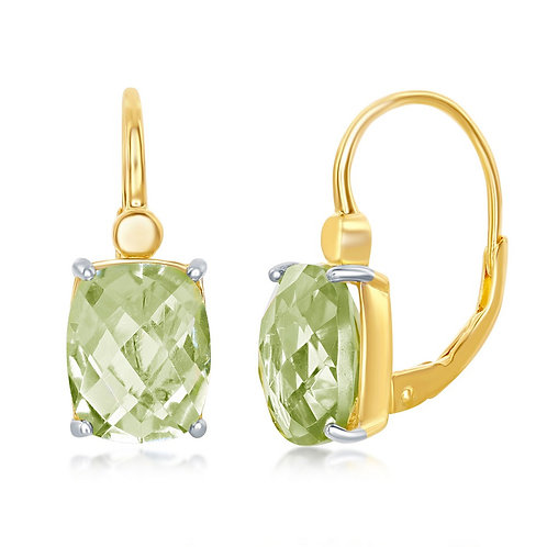 Sterling Silver Gold Plated Checkered 4.904cttw Green Amethyst CE-D-6973