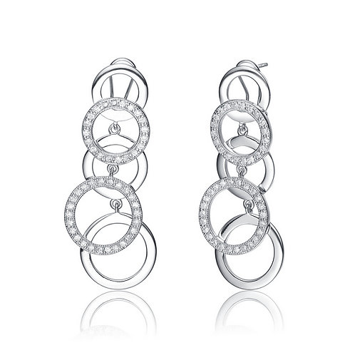 Interlocking Pave Circle Drop Earrings TCSE-EAR1074