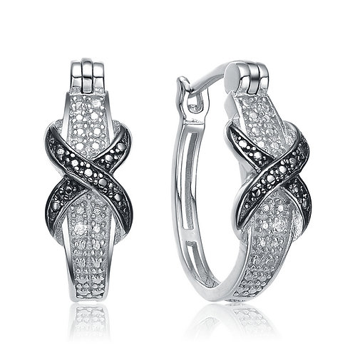 Sterling Silver Clear and Black Stone X Style Earrings CSE- EAR9304