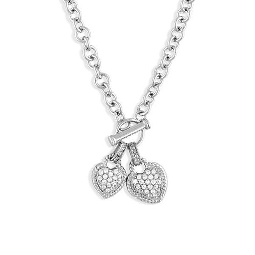 STERLING SILVER CZ HEART NECKLACE M-3520