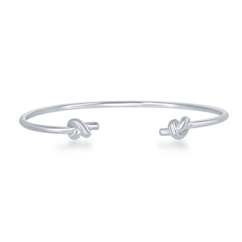 Sterling Silver Double Love Knot Cuff Bangle CSB-U-6574