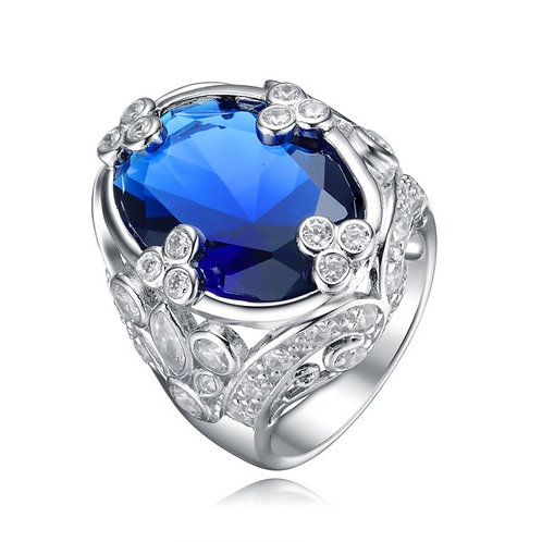 Sterling Silver with Rhodium Plated Sapphire Blue Oval Filagree Ring TCSR-R7076