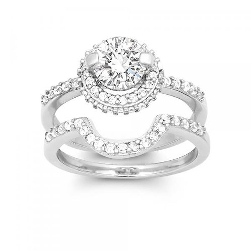 CZ ENGAGEMENT AND WEDDING RING SET W-9899