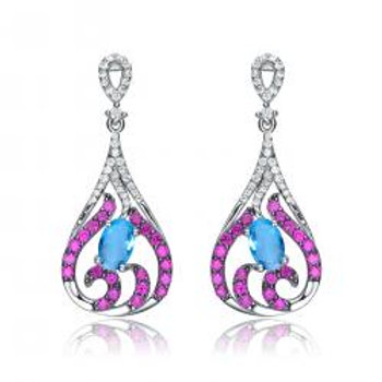 SS Amethyst/Blue Stone Deco Drop Earrings TSE-EAR9231
