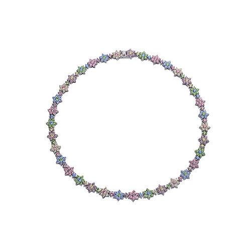 Sterling Silver Cubic Zirconia Multicolor Necklace NS10