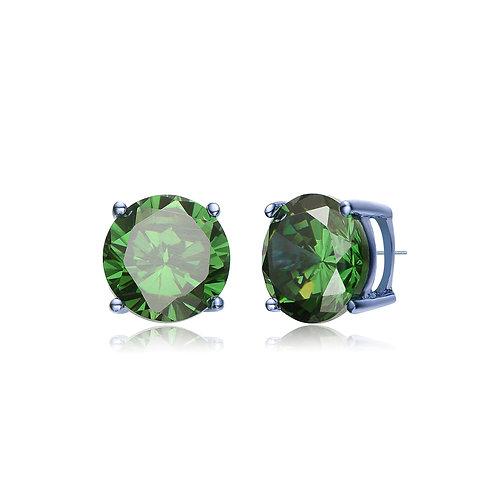 Sterling Silver 3mm Emerald Color Stone Stud Earrings .50ctw TCSE-EAR600-3MM-E