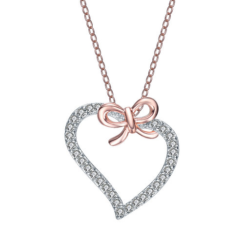 Sterling Silver Rose Plated Heart and Bowtie Necklace TCSN-PEN7093-ROSE