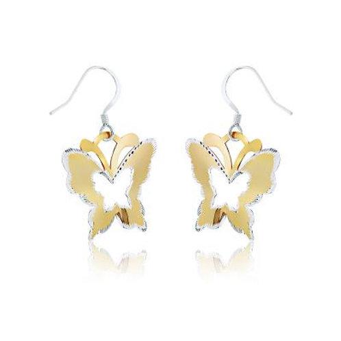 Sterling Silver GP Butterfly w/Diamond Cut Edge Earrings CSE-A-2073