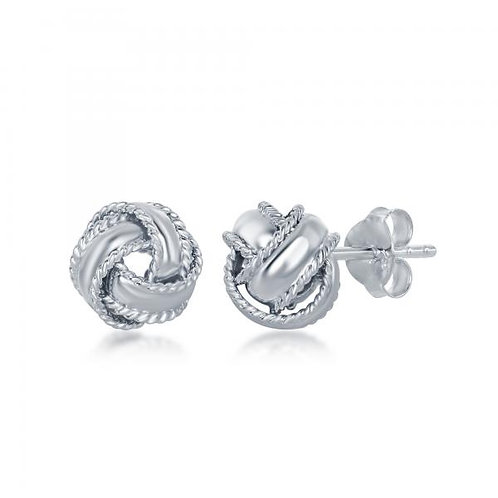 Sterling Silver Rope Love Knot Stud Earrings CSE-A-2554